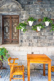 old wooden window and flower pot Royalty Free Stock Images