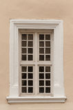 Old wooden window frame. Of the castle in Uzhgorod, Ukraine Stock Photo