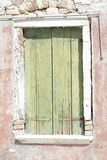 Old wooden window with green shutters Royalty Free Stock Photography