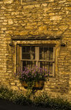 Old wooden window in a historic building, characteristic stone f Stock Image