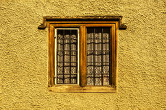 Old wooden window in a historic building, characteristic stone f Royalty Free Stock Images