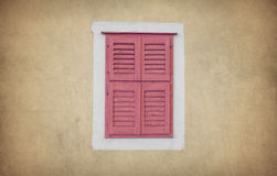 Old wooden window house wall Stock Photo