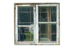 Old wooden window isolated on white background stock images
