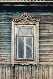 Old wooden window. Russian traditional style Royalty Free Stock Photo