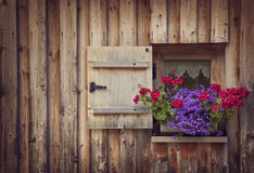 Old wooden window. With shutters Stock Images