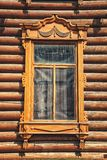 Old wooden window in Tomsk, Russia Royalty Free Stock Images