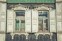 Old wooden window in Tomsk, Russia Stock Photos