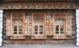 Old wooden windows. Russia, Suzdal, old wooden windows with carving Royalty Free Stock Images
