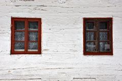 Old wooden windows. In disrepair stock images