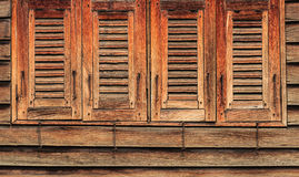 Old Wooden Windows, 4 Closed, Oriental Style Royalty Free Stock Image