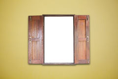 Old wooden windows frame on Abstract Empty  leather yellow Backg Royalty Free Stock Image