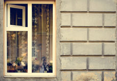 Old wooden windows frame on cement cracked wall Royalty Free Stock Images