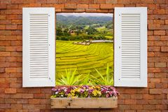 Old wooden windows frame on stone wall and view of green terraced rice field background. Thailand Royalty Free Stock Photos