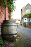 Old wooden wine barrel scene. Old wooden wine barrel scene represent wine equipment concept royalty free stock image