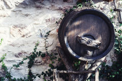 Old wooden wine barrel Stock Photo