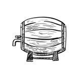 Old wooden wine or beer barrel sketch Stock Photo