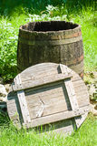 Old wooden wine cask Stock Photo