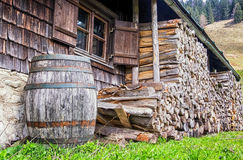 Old wooden wine cask. At a farmhouse stock images