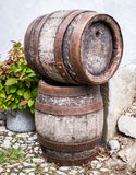 Old wooden wine cask. At a farmhouse stock photography