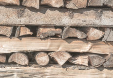 Old woodpile. Woodpile from old firewood in a horizontal format stock photos