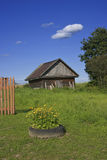 Old woodshed on green grass meadow Royalty Free Stock Images