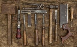 Old Woodwork Tools Background Stock Photography