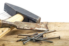 Old woodworker tools on rustic wood  white background Royalty Free Stock Photo