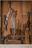 Old woodworking tools. In carpentry shelf stock image