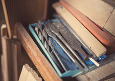 Old woodworking tools. Retro tinted stock photos