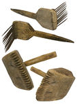 Old wool comb and mallet Royalty Free Stock Images