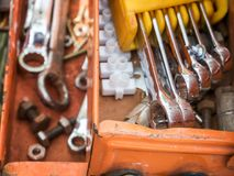 Old work tools. In old tool box stock photography
