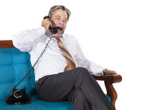 Old workaholic businessman working at night covere Royalty Free Stock Photography