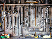 Old workbench. Close up - photo Royalty Free Stock Photo