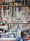 Old workbench. And old worktools Stock Image