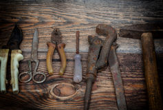The old working tool against wooden planks Stock Photography