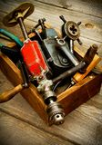 Old working tools (drill, hammer, emery and others Stock Photo