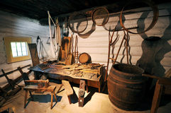 Old workshop. Traditional old workshop with wooden tools Stock Image