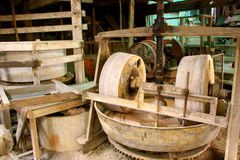 Old workshop grinding wheels Royalty Free Stock Photography