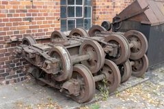 Old workshop of wagons and narrow-gauge railway locomotives. Pla stock images