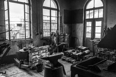 Old workshop, werkstatt bw Royalty Free Stock Photos
