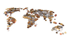 Old world coins as world map. Isolated on the white background royalty free stock photo