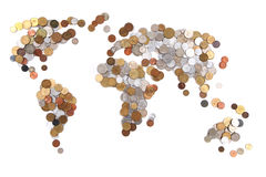 Old world coins as world map. Isolated on the white background royalty free stock photos