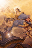 Angels on wall. Old world fresco in Italian cathedral featuring angels stock image