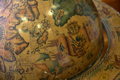 Old world globe. A closeup  image of an old  globe mapping the world Royalty Free Stock Photo
