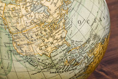 Old world globe: North America and Middle America Royalty Free Stock Photography