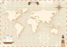 Old World Map. Image of an old paper world map vector illustration