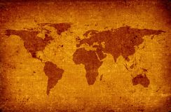 Old world map. Close-up of old grunge world map stock images