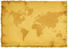 Old World Map. World Map on old grunge paper Royalty Free Stock Photography