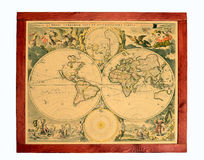 Old world map. The isolated photo of drawing created in style of the ancient world map Royalty Free Stock Photo