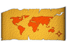 Old world map. Illustration of world map on old paper Royalty Free Stock Photo